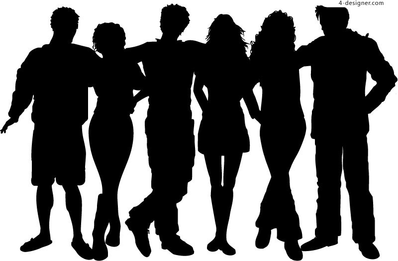 Creative Young People silhouettes vector material
