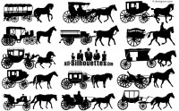 Creative carriage silhouette vector material