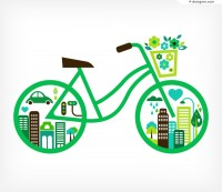 Creative cartoon bike vector material