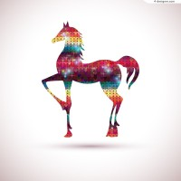 Creative color love horse vector material