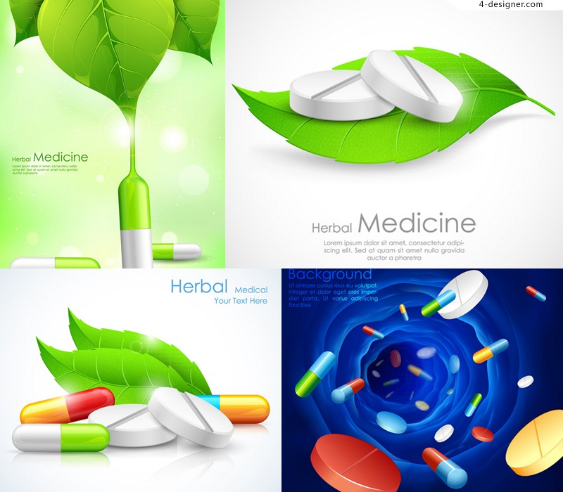 Creative drugs poster vector material