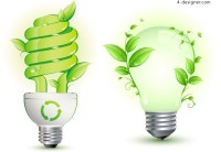 Creative green energy saving light bulb vector material