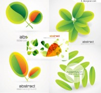 Creative green leaves background vector material