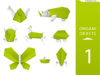 Creative green origami animals vector material