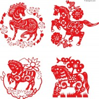 Creative horse paper cutting vector material