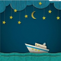Creative night sailing clip art vector material