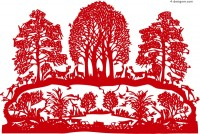 Creative paper cut vector material forest