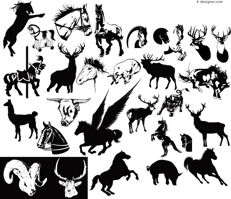Creative wildlife silhouettes vector material