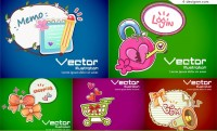 Cute cartoon Banner design vector material