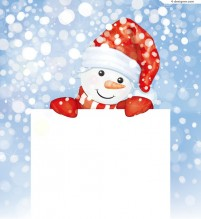 Cute snowman text background vector material