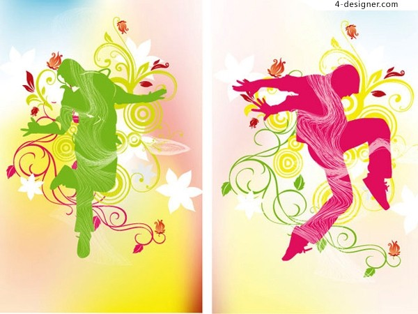 Dancing People and dynamic pattern vector material