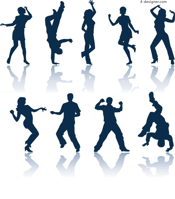 Dancing People silhouettes vector material