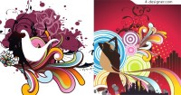 Dancing with the trend of female characters silhouette element vector material