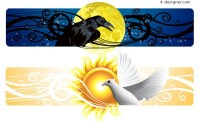 Day and night banner vector material