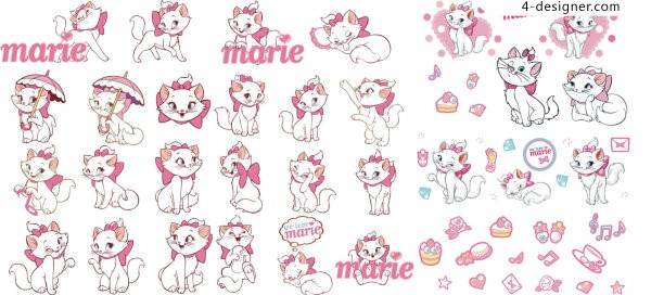 Disney Marie cat vector material