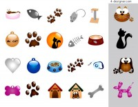 Dog and cat pet supplies element vector material