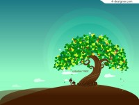 Dreamlike Wishing Tree vector material