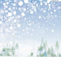 Dreamlike forest snowscape vector material