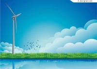 Dutch windmill and wind vector material Download