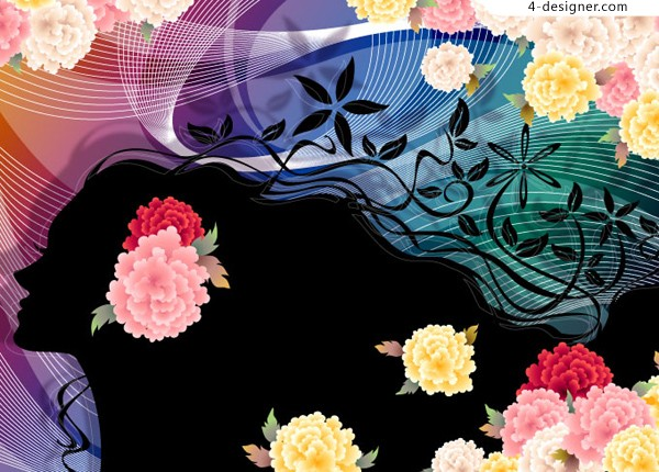Dynamic beauty silhouette and exquisite flowers background vector material
