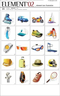 ELEMENT life items and sports goods vector icons