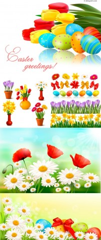 Easter Egg flowers background vector material