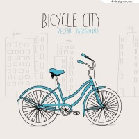 Elegant hand painted bicycle vector material
