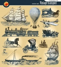 European ancient means of transport vector material