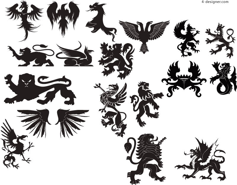 European animal silhouettes vector material