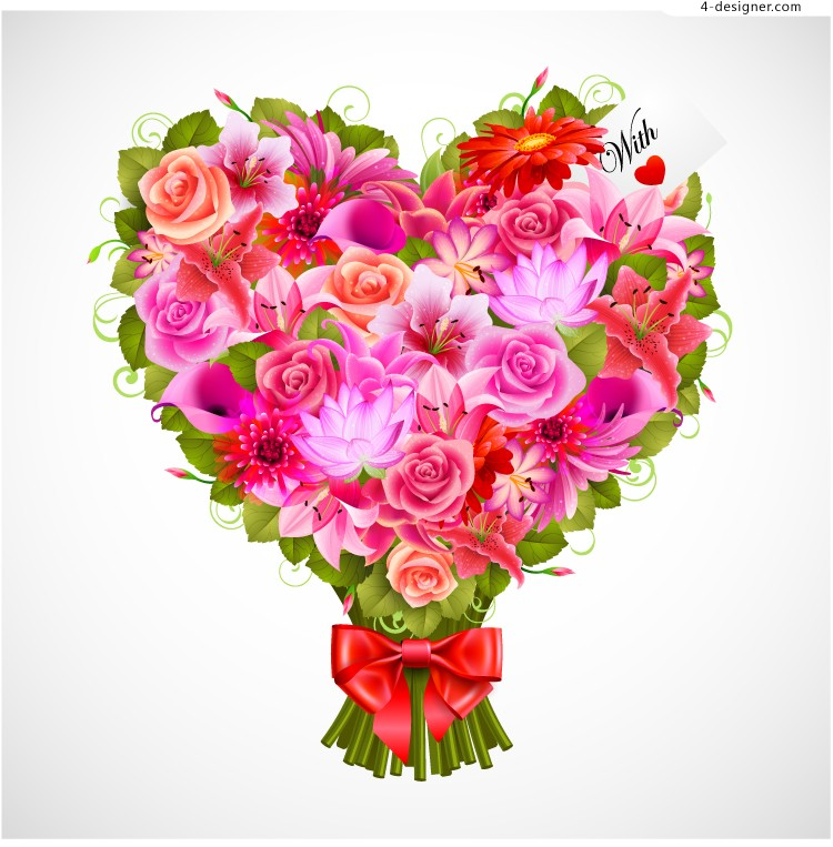 Exquisite Valentine s Day bouquet vector material