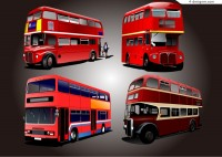 Exquisite double decker bus vector material
