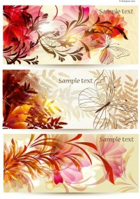Exquisite flowers and butterfly banner vector material