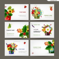 Exquisite flowers card design vector material