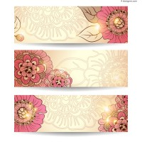 Exquisite halo flowers banner vector material