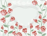 Exquisite roses frame vector material