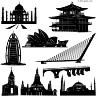 Famous buildings around the world vector material