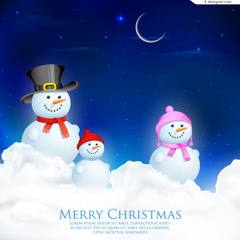 Fantasy Christmas snowman background vector material