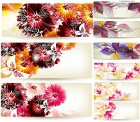 Fantasy abstract flowers banner vector material