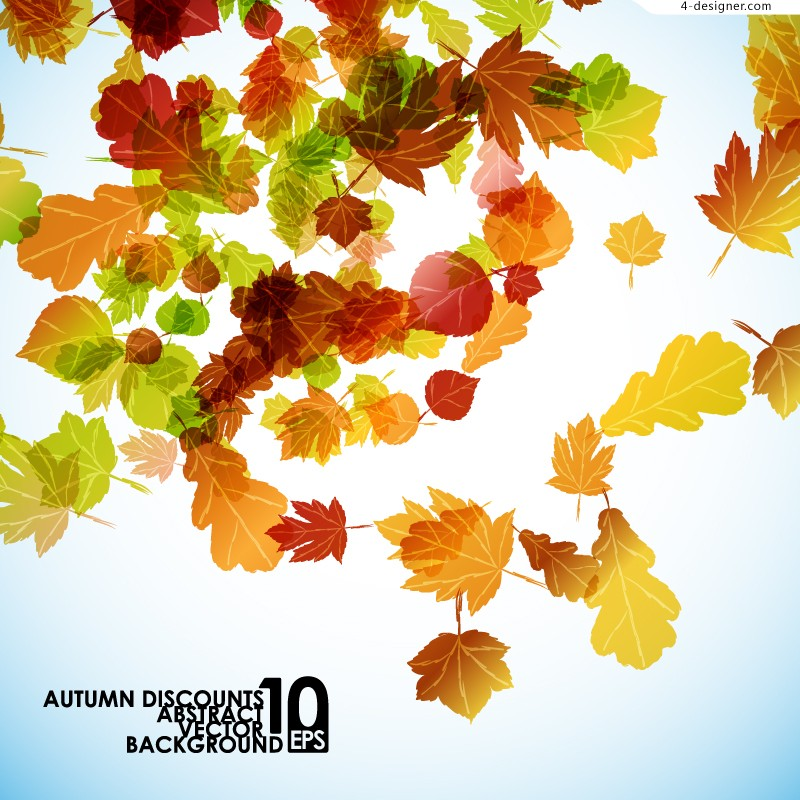 Fantasy autumn leaves background vector material