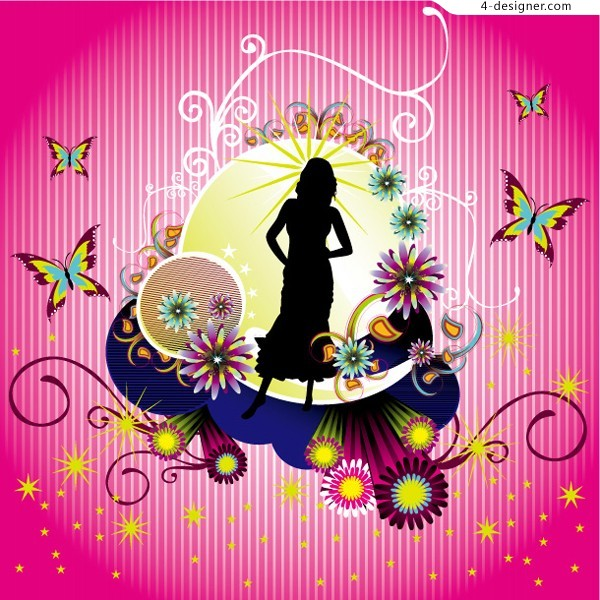 Fashion flower pattern and female figures silhouette vector material