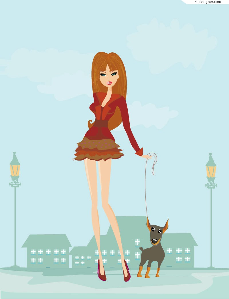 Fashion girl walking the dog vector material