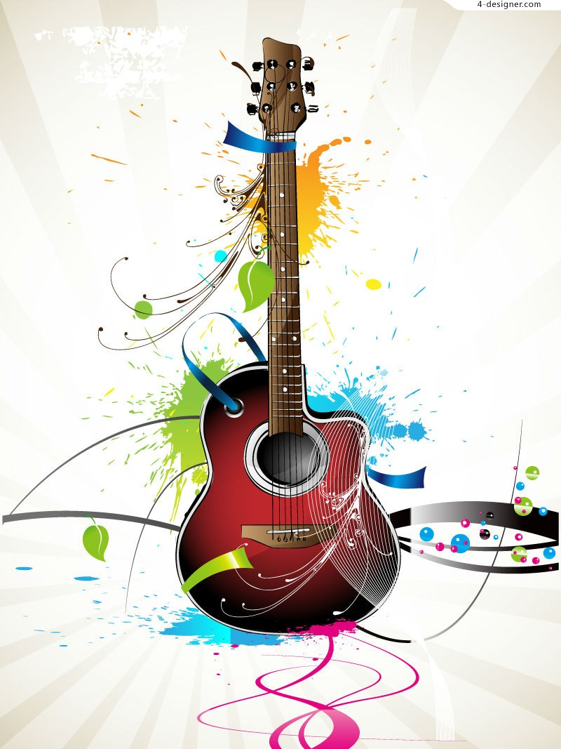 Fashion guitar splash ink illustrator vector material