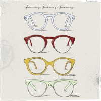 Fashion hand painted glasses vector material