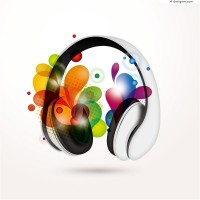 Fashion headphones iIlustrator vector material