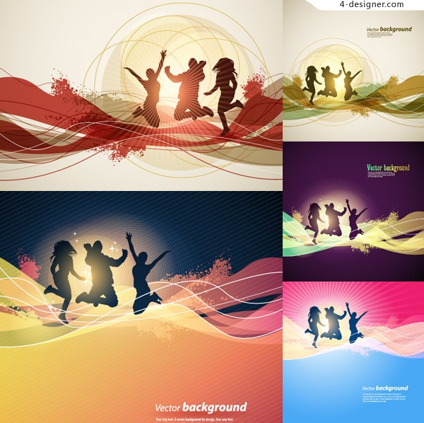 Fashion jumping People silhouette vector material