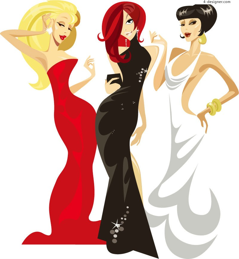 Fashion lady vector material