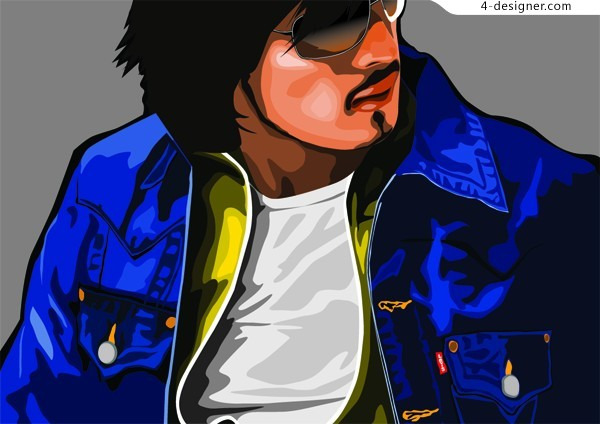 Fashion men and women vector material