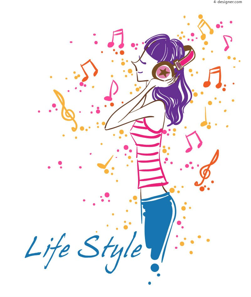 Fashion music girl vector material