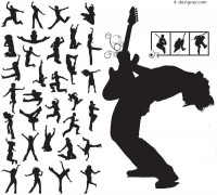 Fashion music talent s cool action silhouette vector material