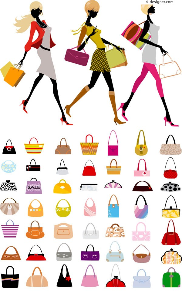 Fashion shopping beauty vector material